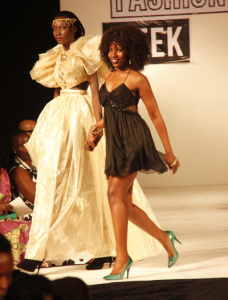 Martha Jabo (in black) with a model at the recent Kampala Fashion Week. She was also nominated in  the Swahili Fashion Week.
