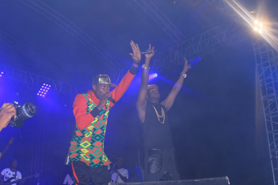Bebe Cool and Chameleone on stage.