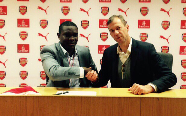 Jack Pemba of Sports Africa Limited and Mark Ellis at the Emirates Stadium. Pemba is making the trip possible,