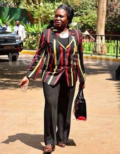 Nankabirwa in the ladies' version of the suit.