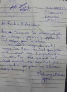 Nakazibwe letter from prison