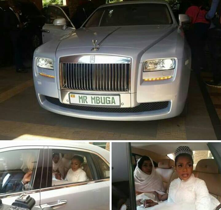 The brode arriving at the mosque in the monster Rolls Royce Phantom that was specifically bought for the wedding.