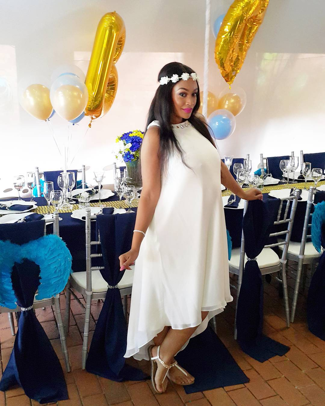 All White Dress For Baby Shower