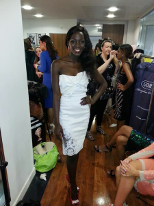 Leah's dress in the Top Model contest.