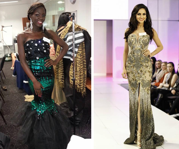 Miss Uganda Leah Kalanguka's dress in the World Fashion Designer category. Right is the category winner Miss India.
