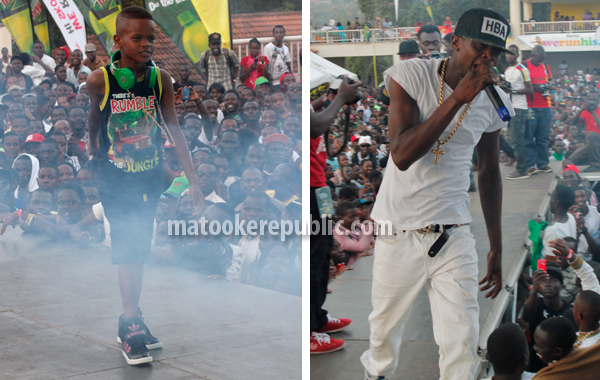Stunting like my daddy. Chameleone introduced his son Abba Marcus aka T Rex.