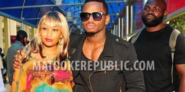 Zari and Diamond at Entebbe Airport.