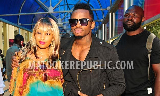 Zari and Diamond at Entebbe Airport.