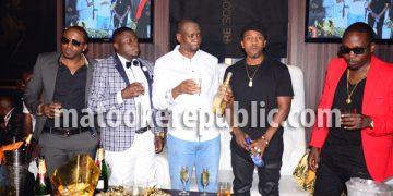 King Lawrence, Ivan Semwanga, Liquid Silk owner Elvis Ssekyanzi, Meddie Ssentongo and Ed Cheune.