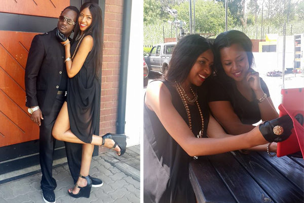 Bebe Cool poses with the South African video vixen. Right is Zuena taking a selfie with the vixen.