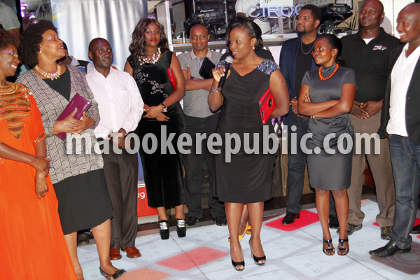 NTV MD Aggie Asiimwe Konde (with microphone) and part of the cast and crew.