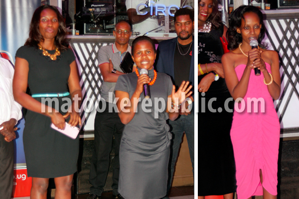 The shows producer (speaking), plus the editor Maureen Kintu (L) and one of the writers (R).