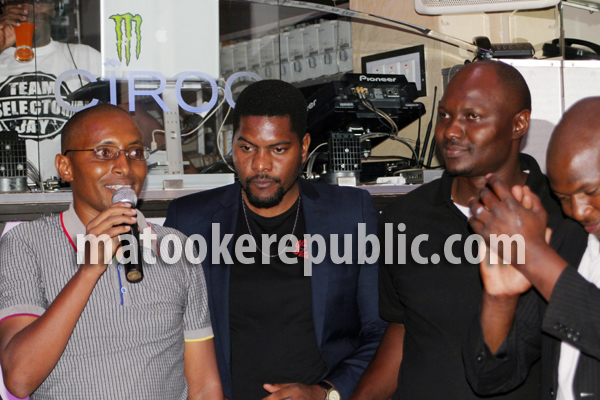 The show's director George Kihumbah (L) and actors at the premiere.