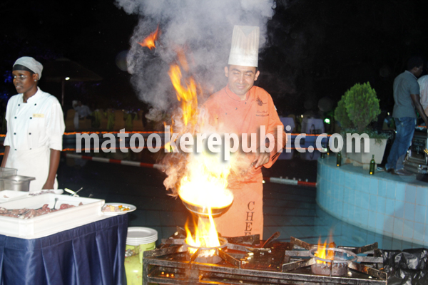 A chef prepares a Mongolian dish. He was a marvel to watch, with his flame theatrics.