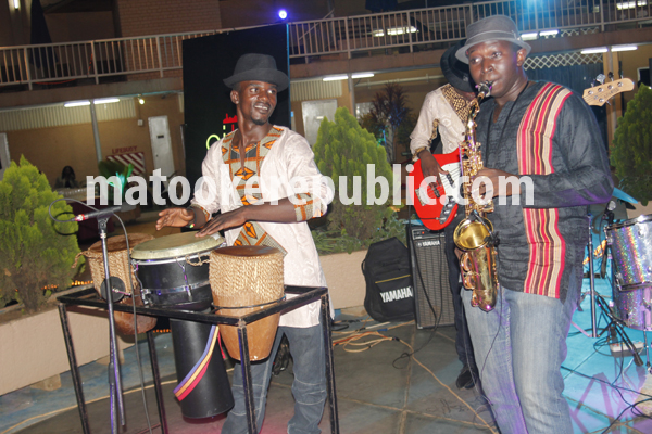 Ceaser Kajura (on the saxohone) plays with the Citiblend band,