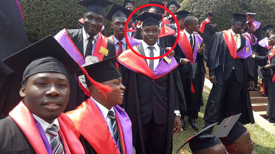Dr Kalungi (circled) with other doctors at Makerere's graduation ceremony in late January.