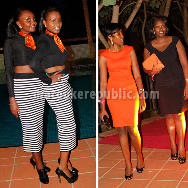 Ushers (L) and guests in the orange and black themed party.