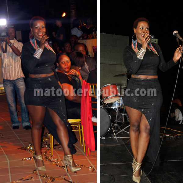Desire Luzinda performs at the party.