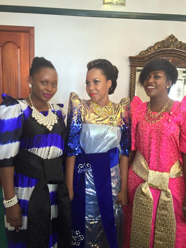 Mastulah (middle) with singers Rema Namakula and Irene Ntale at her wedding day.