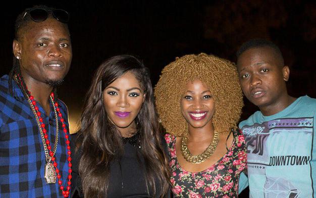 Nigerian singer Tiwa Savage with TNS' Pallaso, Sheeba and AK47 on 8th March.