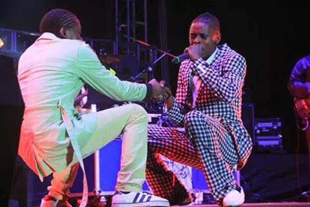 AK and Chameleone on stage during the Valu Valu concert.