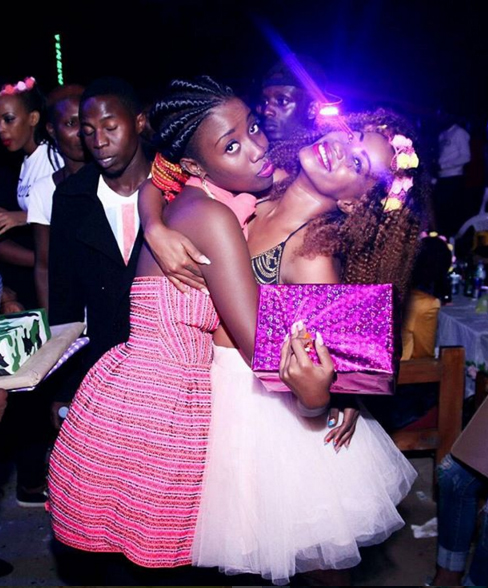 Sheebah (R) with Lydia Jazmine who sang her the Happy Birthday song.