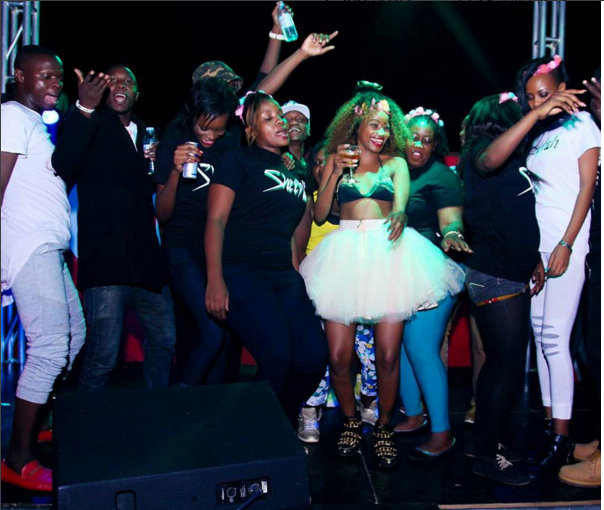 Sheebah dances with friends at the party.