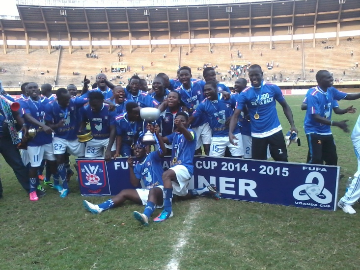 Sports Club Villa players celebrate the Uganda Cup win of the 2014/15 season, unfortunately, there were no fans in the stadium to celebrate with.