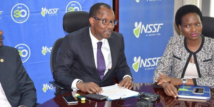 NSSF MD Richard Byarugaba and Head of Marketing and Communications Barbra Arimi.
