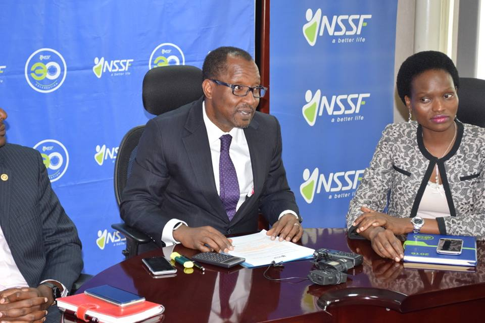 NSSF MD Richard Byarugaba and Head of Marketing and Communications Barbra Arimi.