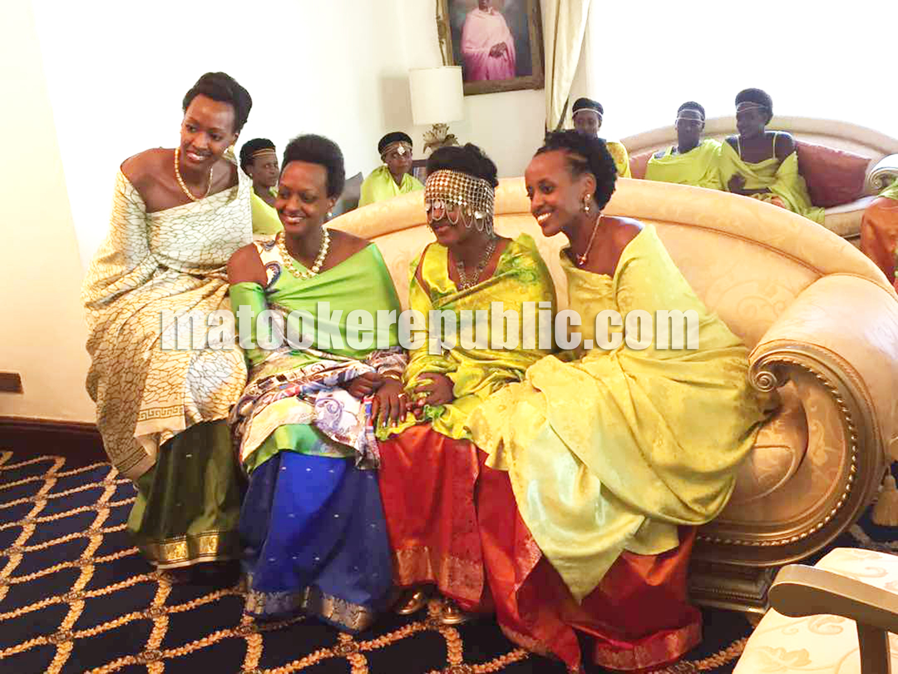 Georgina (2R) with her sisters during her Kuhingira at State House in Entebbe last weekend.