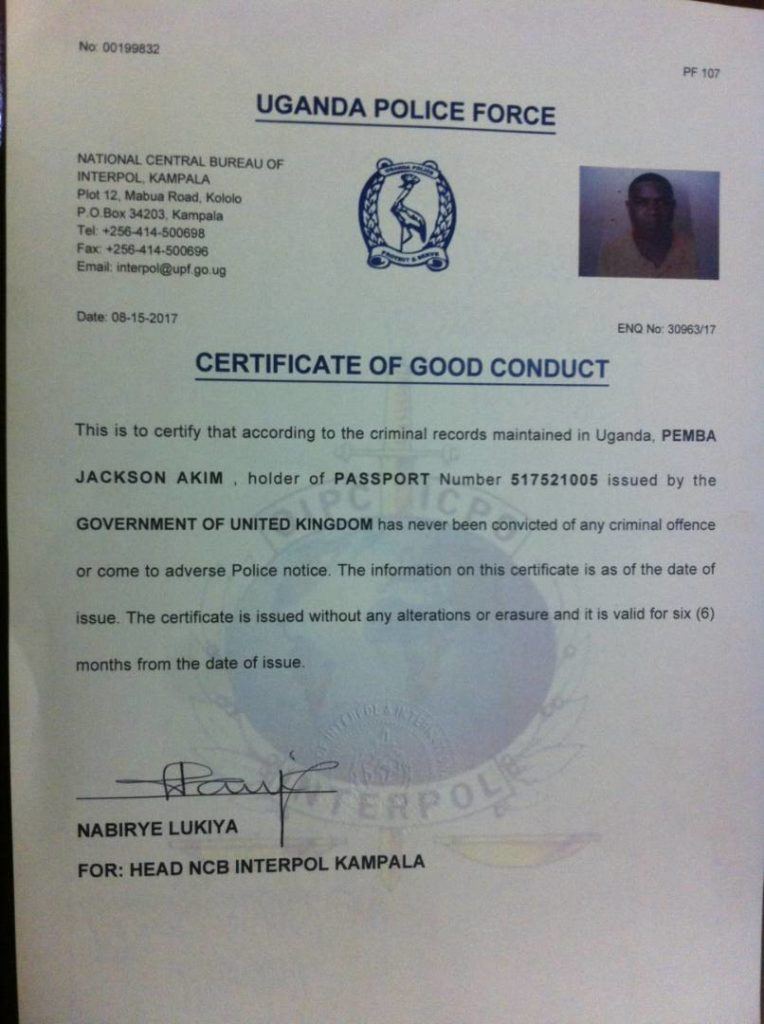 Police issues Jack Pemba certificate of good conduct - Matooke Republic