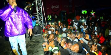 Fik Fameica performing at Guinness Night Football last night in Fort Portal. PHOTOS BY ASIIMWE VINCENT SMOKY/Matooke Republic.