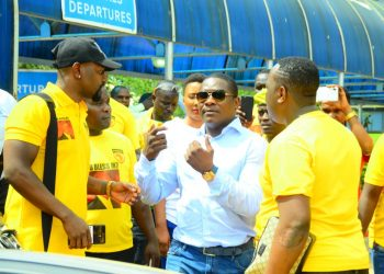Jack Pemba after landing at Entebbe International Airport today. PHOTOS BY ASIIMWE VINCENT SMOKY/Matooke Republic.