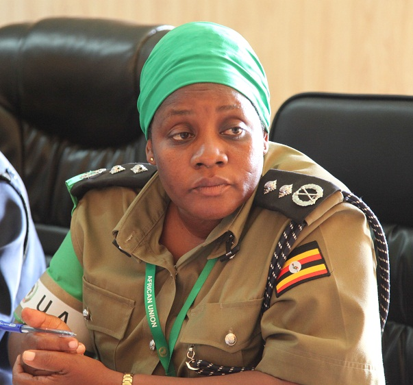 AMISOM Deputy Police commissioner, Christine Alalo in Kismayo, Somalia,  for Somali Police Force capacity building in Jubbaland. On July25, 2015. AMISOM Photo/ Awil Abukar